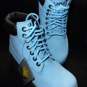 VINTAGE  VOLATILE BLUE SUEDE BOOTS  ~ NEW in box ~